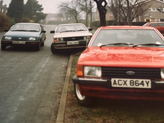 L – R; My 1984 Ford Sierra 1.6, my Dad's 1978 Ford Cortina MK4 1.6, (my brother) Ton ...