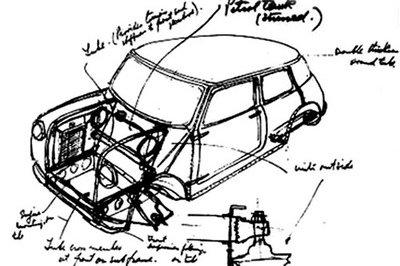 Sir Alec Issigonis' original design for the 1959 Mini