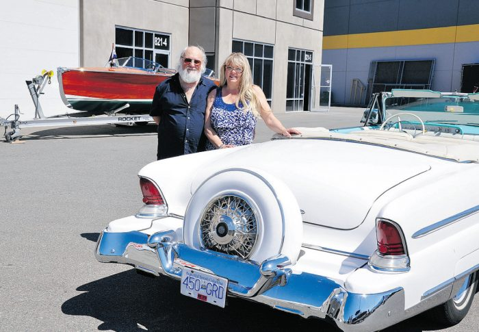 Sam and Patty Bronstein love their '55 Lincoln Capri convertible equipped with its contine ...