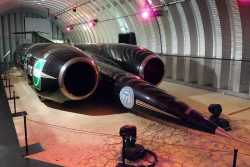 1997 Thrust SSC, the Land Speed Record breaking car driven by Andy Green, on display at the Tran ...