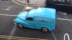 Right under my window, this beautifully restored 1950s Morris Minor 1000 van.