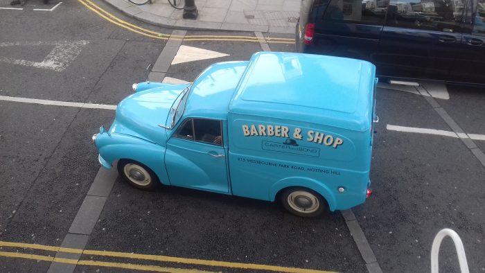 Right under my window, this beautifully restored 1950s Morris Minor 1000 van.