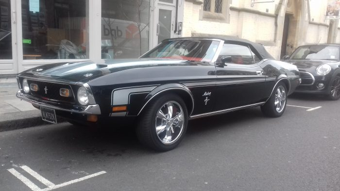 1972 Ford Mustang Mach 1 convertible. Michigan muscle comes to mild-mannered West London.