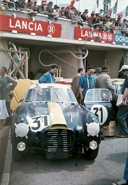 Le Mans before the start of the 24 Hours on June 13, 1953. This Lancia berlinetta was a D20 with ...