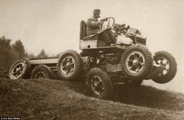 Lets off road: A ten wheel all-terrain car able to descend slopes up to 65 degrees invented in E ...