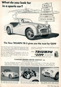 1956 Triumph TR-3 Advertisement Road & Track February 1956
