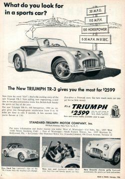 1956 Triumph TR-3 Advertisement Road & Track February 1956