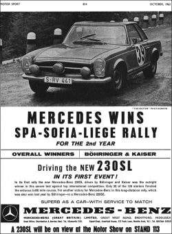 1963 Mercedes 230SL wins rally