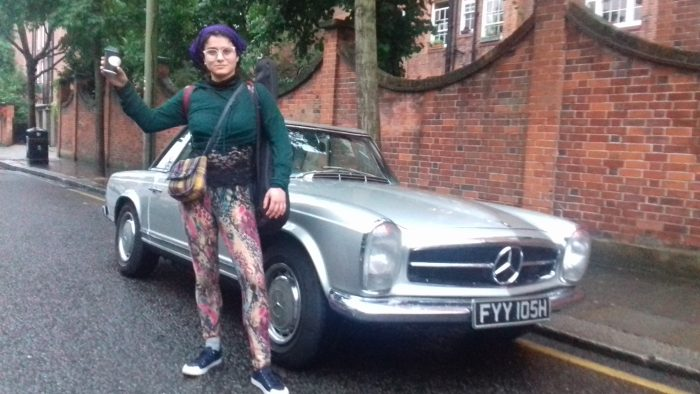 New York singer, Samantha Echo, with 1969 Mercedes 280SL