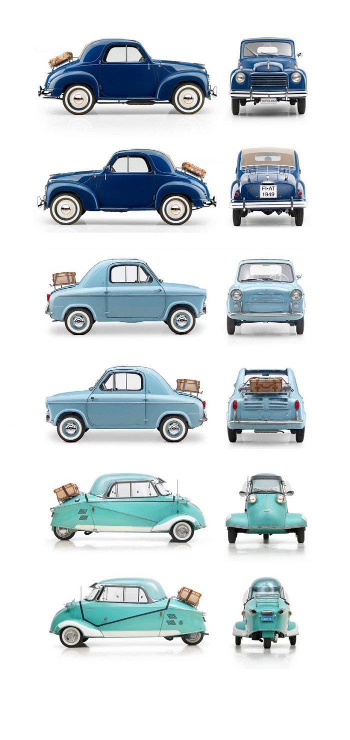 1949 Fiat 500C Topolino, 1959 Vespa 400, 1959 Messerschmitt KR200 – Classic Cars