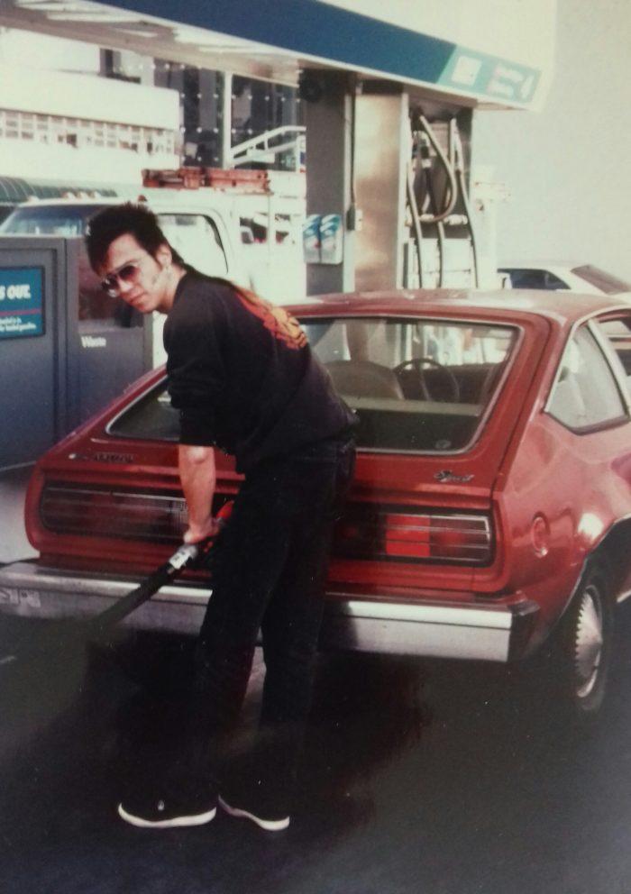JJ gasses up the Spirit, LA, 1992