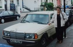 My late mother with the Merc, Notting Hill, 2004