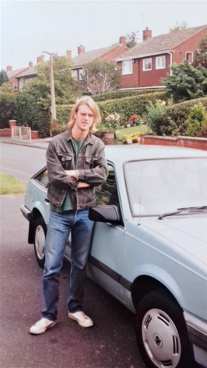 Me with my 1986 Vauxhall Cavalier 1.6, Stafford, England, 1994