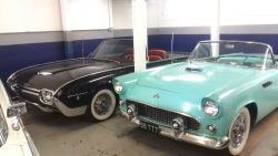 Foreground; 1955 Ford Thunderbird convertible, rear; 1963 Ford Thunderbird convertible