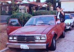 My bass player/room mate/co-driver, JJ with the AMC, Hollywood, CA, 1992
